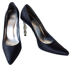 Stuart Weitzman Nuflame Crystal Satin Black Pumps
