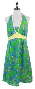 Lilly Pulitzer short dress Green Blue Yellow Silk on Tradesy