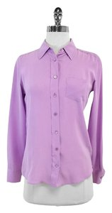 Equipment Long Sleeve Lilac Silk Button Up Sweatshirt