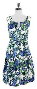 Tory Burch short dress Amalia Ivory Blue Green Linen on Tradesy