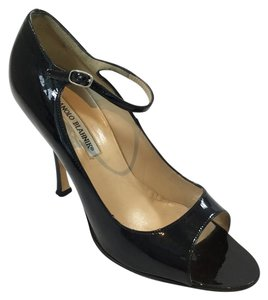 Manolo Blahnik Patent Mary Jane Peep Toe Black Pumps
