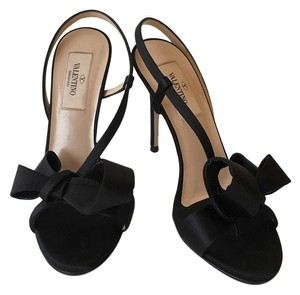 Valentino Bow-embellished Satin Slingback Black Sandals