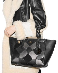 Coach Leather Patchwork Crossbody Satchel in Black