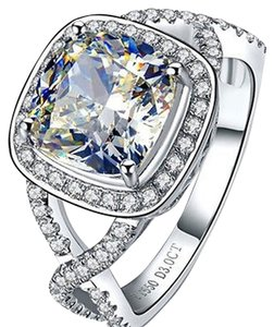 Sizes Size 5 5.5 6 7 And 8 In Stock Ring Diamond Square Band Wedding Engagement Proposal Promise Bridal Girlfriend Wife
