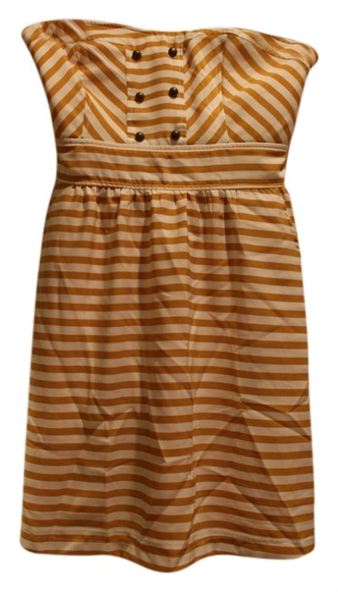 Love Story short dress Mustard Yellow Striped on Tradesy