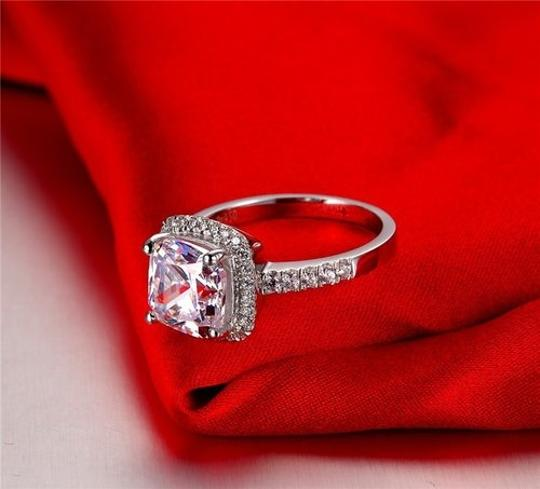 Size 4.5 5 5.5 6 7 and 8 In Stock Diamond Square Band Engagement Cushion Square New Sona Usa Proposal Promise Wife Ring
