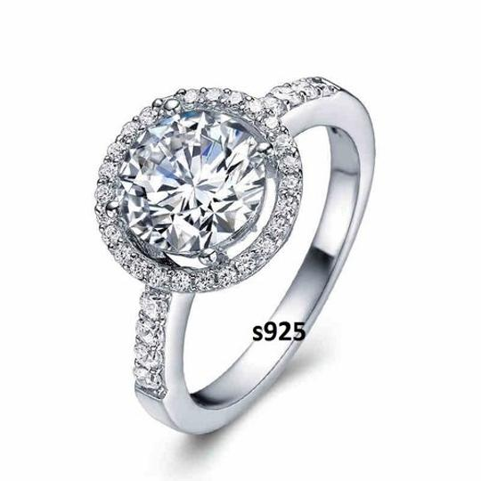 Sizes 4 5 6 7 8 9 Sterling S925 Silver Core Solid Ring Jewlery Halo Band 2.5 Ct Diamond Crystal Cz Band Wedding