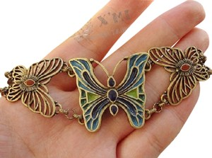 Other Retro Style Cloisonne Butterfly Charm Bracelet