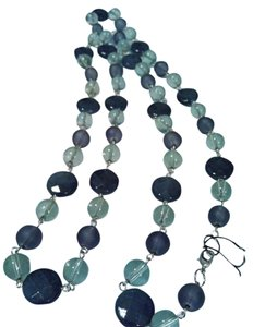 Mixt Chic Frosted Blue Glass, Light Blue Crystal, Navt Blue Facted Oval Necklace 32