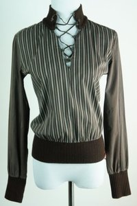 Miss Sixty Striped Pull Over White Lace Up Top Brown