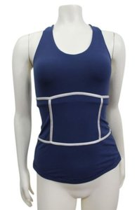 Lululemon Lululemon Navy White Gray Athletic Racer Back Top Zip At Hem