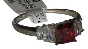 Hallmarked 925 Sterling Silver Genuine Garnet & White Topaz 5 Stone Ring Available Sizes 5 6 7 8 9