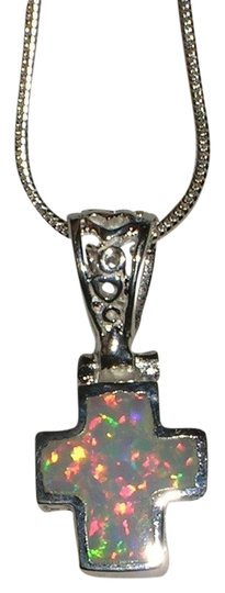 """Other Hallmarked 925 Sterling Silver REAL White Opal Cross Pendant Necklace18"""" Sterling Silver Snake Chain"""