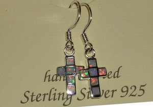 Other Hallmarked 925 Sterling Silver REAL White Opal Cross Dangle Earrings