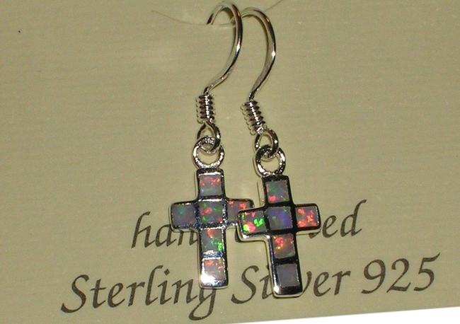 White Hallmarked 925 Sterling Silver Real Opal Cross Dangle Earrings White Hallmarked 925 Sterling Silver Real Opal Cross Dangle Earrings Image 1