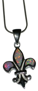 Other New Orleans Saints Fleur de Lis REAL White Opal Pendant Necklace 18