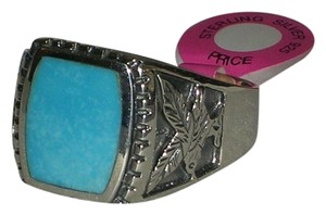Hallmarked 925 Sterling Mens Eagle Engraved Genuine Turquoise Sterling Ring Available Size 10 11 12 13 14