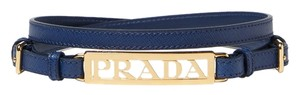 Prada Prada Gold Logo Saffiano Leather Belt
