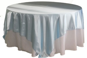 """& Other Stories Light Blue 20 Satin Overlay 90"""" Square Tablecloth"""