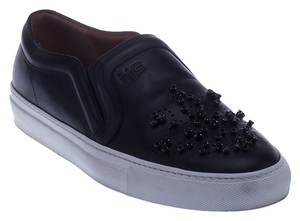 Givenchy Leather Slip Ons Crystal Detail Black Flats