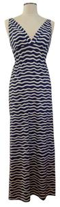 blue/white Maxi Dress by Ellie Kai Empire Waist Summer Resort Beach Striped