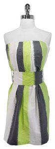ADAM short dress Lime/Grey/White Lippes Silk on Tradesy