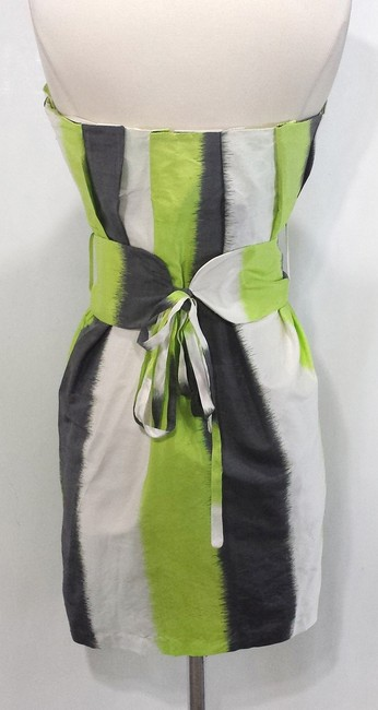 ADAM short dress Lime/Grey/White Silk on Tradesy
