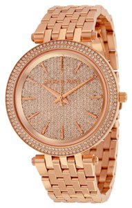 Michael Kors Crystal Pave Dial Rose Gold Stainless Steel Designer Luxury Ladies Dress Watch