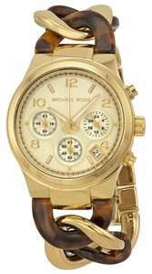 Michael Kors Gold Tortoise Shell Stainless Steel and Acetate Chain Link Twist Designer Ladies Watch