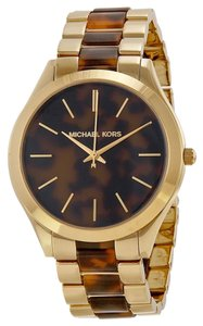 Michael Kors Gold tone Stainless Steel Tortoise Shell Acetate Designer Classic Casual Ladies watch