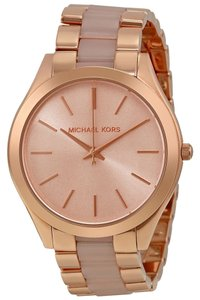 Michael Kors Rose Gold tone Stainless Steel Blush Acetate Designer Classic Casual Ladies watch