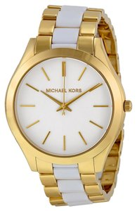 Michael Kors Gold tone Stainless Steel White Acetate Designer Classic Casual Ladies Watch