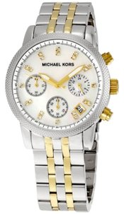 Michael Kors Crystal and Mother of pearl Dial Two Tone Silver Gold Stainless Steel Designer Watch