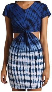 Stylestalker short dress Blue & White Cut-out Tie Dye on Tradesy