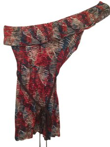 Rue 21 One Abstract Print Casual Date Night Top Red, brown, blue, tan
