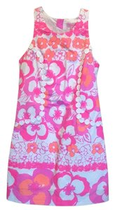 Lilly Pulitzer short dress Pink white floral on Tradesy