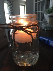 12 Small Mason Jars With Clear Gems And Floating Candles