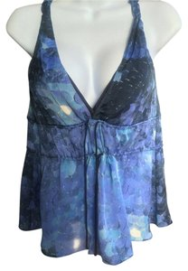 Rebecca Taylor Silk Babydoll Twisted Strap Top Blue Watercolor