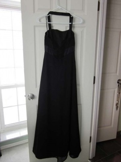 Alfred Angelo Black Polyester 7016 Formal Bridesmaid/Mob Dress Size 2 (XS)