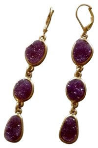 H.Finn Raw Amethyst Druzy Gemstone Earrings