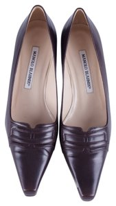 Manolo Blahnik Kitten Heel Leather Brown Mules