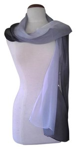Edward Cromarty Art Design Studio White and Black Elegant Shaded Scarf, Headcovering