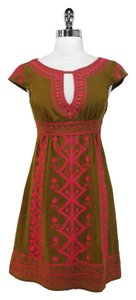 Nanette Lepore short dress Green/Pink Silk on Tradesy