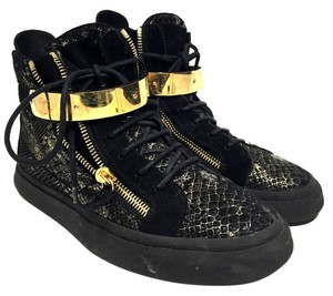 Giuseppe Zanotti Hightop Sneakers Black and Gold Athletic