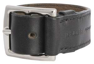 Hermès Black Leather Etriviere Cuff Bracelet