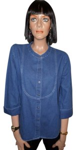 Hot Cotton Button Down Shirt Blue Denim