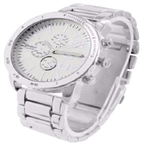 Geneva Mens Geneva Silver Watch Time Zone White Gold Plated Steel Back Water Resist
