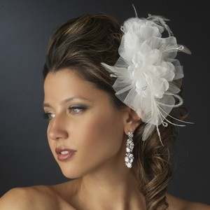 Elegant Satin And Sheer Organza Wedding Bridal Flower Comb