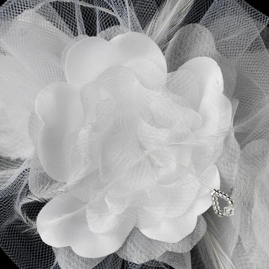White Elegant Satin and Sheer Organza Flower Comb Hair Accessory