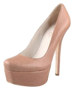 Alice + Olivia Embossed Leather Platform Nude/Pink Pumps